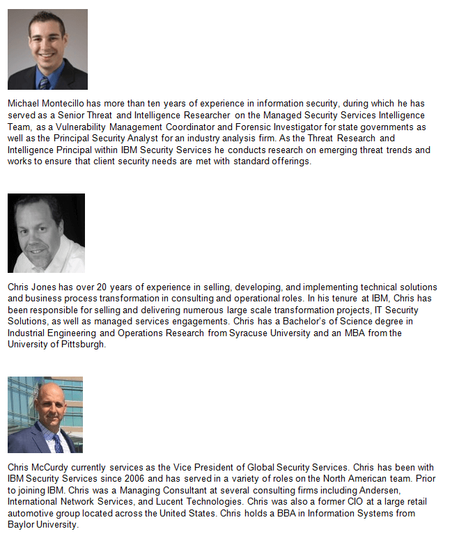 IBM security speaker bios